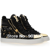Free shipping 2014  brand new shoes studded spikes real leather suede crystal zipper high top woman man 's sneakers
