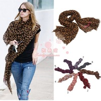 Leopard print silk scarf pleated tassel scarf cotton air conditioning cape m72215