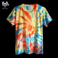 Handmade tie-dyeing reggae hallucinogenic t-shirt men and women hippie lovers design