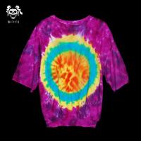 Handmade tie-dyeing reggae hippie sun god loose hallucinogenic batwing sleeve thickening t-shirt lovers design