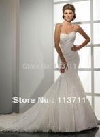 Free Shipping Hot-sale appliques Sleeveless  sweetheart silky organza mermaid Wedding Dress/wedding gowns