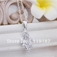 2013 new fashion jewelry wholesale high quality 925 silver inlaid stone pendant necklace & free shipping CN369