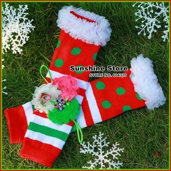 Christmas Leg Warmers ruffled Baby Girl Shabbby diamond flower rhinestone Headband Set children leggings #2B1914  5 set/lot