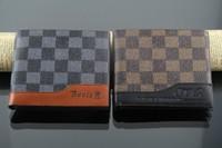 2013 wallet male genuine leather fashion check short design card holder horizontal wallet