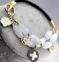 The moonlight gem opal bracelet natural shell clovers multi-layer leather cord bracelet accessories rose flower wholesale