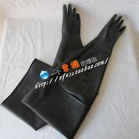 80cm rubber safety gloves sand shot blasting machine glossy ultra long
