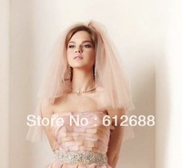 Bridal Wedding Veil One Layer Pink Tulle With Knot Lovely Bridal Veil Wedding Accessoris