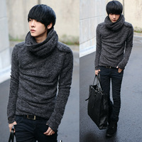 Fashion circle male velvet long-sleeve sweater Men slim sweater male