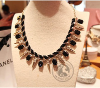 Free Shipping 2013 Rivets Inlaid Black Gem Layers Velvet Necklace Exaggerated Statement Chunky Necklace