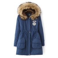 Winter outerwear wadded jacket female medium-long women's with a fur collar hood berber fleece thickening cotton-padded jacket