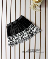 Autumn and winter black knitted fashion rhombus a-line skirt bust skirt short skirt
