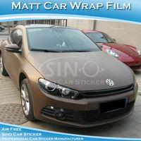 Free Shipping 1.52x30M 5FTx98FT High Quality Matt Brown Car Wrap Vinyl Film/Matt Sticker For Car With Air Bubble Free