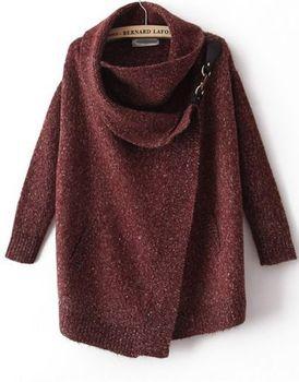 Women's  Autumn/Fall Fashion Casual Cool Red Draped Neck TurtleneckLong ...