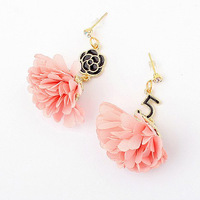 New style fashion pink cloth flower drop earrings party