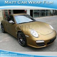 Free Shipping 1.52x30M 5FTx98FT High Quality Matt Gold Car Wrap Vinyl Film/Matt Sticker For Car With Air Bubble Free