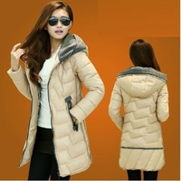 2014 Winter Female Wadded Jacket Medium-Long Slim Down Cotton-Padded Jacket Plus Size With A Hood Thickening Cotton-Padded