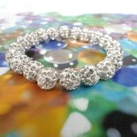 Min. order is $9 (can mix style) New Arrival Fashion Shamballa white crystal ball beads shambala bracelets