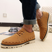 3 Colors ! Free Shipping 2014 New Arrival Men's Fashion Flats Quality Nubuck Leather WholeSale Shoes