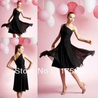 Hot sale black one shoulder knee length chiffon bridesmaid dress BD050