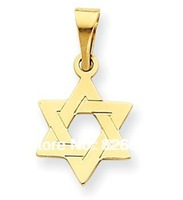 Free shipping Casual 18K Gold plated Elegant Religious David Star pendants charms with side connector for men 12pcs/ lot
