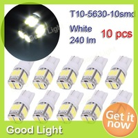 10 X T10 5630 10 SMD LED Vehicle Door License Plate Lamp Car Auto Turn Signal Light Reading LED Bulb DC 12V White