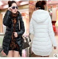 2013 winter women's PU slim medium-long down coat Women wadded jacket outerwear