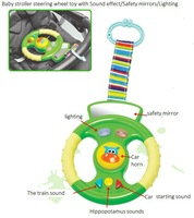 Gift baby stroller toy steering wheel lathe hang with safety mirror  Free shipping Retail 1