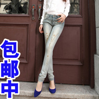 Female jeans slim pencil pants water wash women's mid waist skinny pants 100% cotton trousers butt-lifting slim