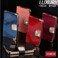 Luxury Bling Rhinestone Diamond Crocodile PU Leather Wallet Bag Cover For Samsung note ii N7100 Card Holder Galaxy Note 2 Case