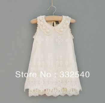 Kids Summer girls chiffon lace pearl collar sleeveless princess birthday dress