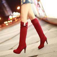 Women's shoes stiletto scrub velvet bow rhinestone high boots plus size