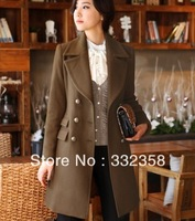 2013 slim gentlewomen wool coat elegant medium-long woolen trench female outerwear overcoat double breasted,free shipping