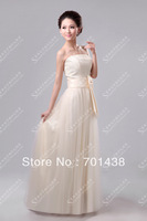 2013 spring and summer Chiffon and Tulle Beige long design bride formal bridesmaid dresses