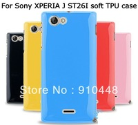 Free shipping jelly soft tpu gel silicon case cover for SONY XPERIA J ST26I