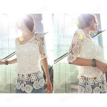 NEW ELEGANT KOREAN FASHION CROCHET LACE WOMEN KNIT TOPS OUTERWEAR SHIRT Size M