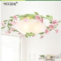 Korean romantic garden flowers and lamp iron lamp restaurant dining room bedroom decor Ceiling S258-3