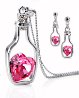 Fashion jewelry accessories austria crystal accessories earrings necklace set adrift - bottle - g001