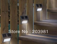 Free shipping 5Pcs/lot Outdoor 2led Solar LED Wall Light Lamp solar garden wall light