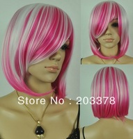 Capless Bob straight Synthetic White and rose red mixed Party cosplay Hair Wig 10pcs/lot mix order free shipping