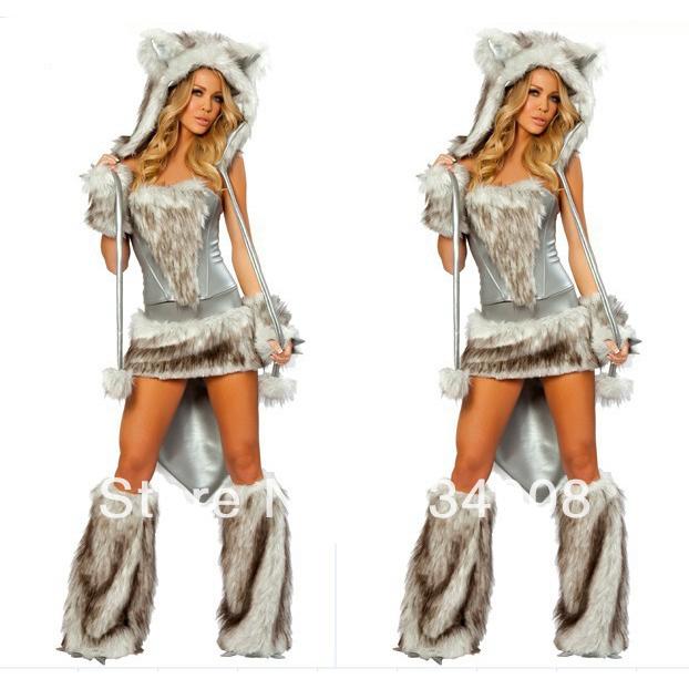 Free Shipping Sexy Animal Costumes,Women Furry Animal Costumes, Hot sale wolf grey wolf costume(China (Mainland))
