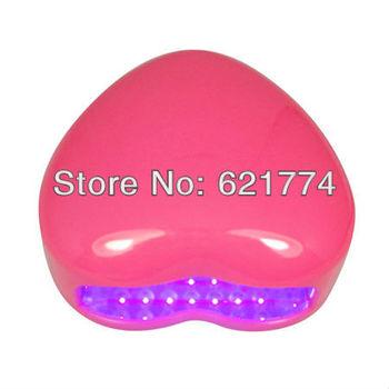 2013 New Mini Portable Heart Shape 3W LED Nail Gel Polish Cure Lamp LED UV Nail Dryer Lamp Gift Free Shipping