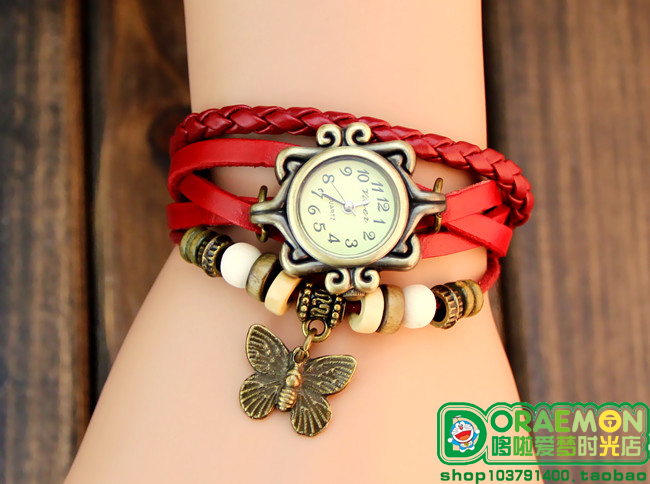 Free shipping New Arrivals High Quality Women Genuine Leather Vintage Watch,bracelet Wristwatches butterfly(China (Mainland))