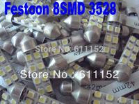 Freeshipping  Festoon 8 SMD 31mm/36mm/39mm/41mm/42mm 3528/1210 Car LED Festoon Dome Light Automobile Bulbs Lamp tail