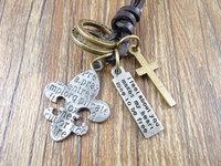 New arrival handmade genuine leather vintage cross letters symbol pendants men necklace jewelry women sweater chain