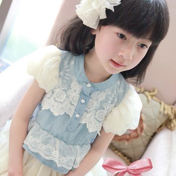 Baby children's clothing summer new arrival 13 female child tulle dress denim lace decoration elegant tulle dress one-piece