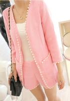 Free Shipping 2013 Autumn Fashion Small Wrist-length Sleeve Handmade Beading Tweed Fabric Women's Set