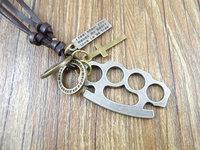 2013 new arrival handmade genuine leather vintage cross pendants men's necklace jewelry women sweater chain