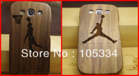 100% High Quality New Natural Bamboo Wooden Cover Hand Carve Hard Back Case For Samsung Galaxy S3 SIII i9300  Basketball