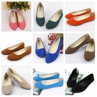 Sweet Candy Color Womens Flat Shoes faux Suede Ladies Ballet Shoes Shallow Mouth single Flats Shoe for Xmas