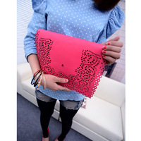 Lace decorative pattern bag handbag single shoulder bag messenger bag vintage bag envelope bag color block bag big bag